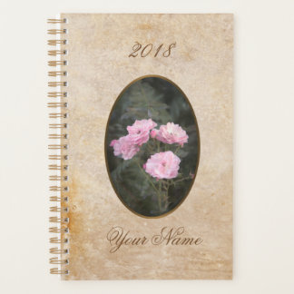 Vintage design. Photo of pink roses. Add your text Planner