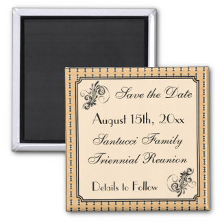 Vintage Design-Reunion, Event, Party Save the Date 2 Inch Square Magnet