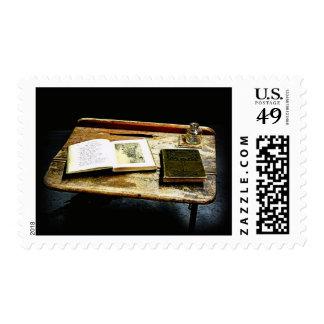 Vintage Desktop - Student Desk Postage Stamps