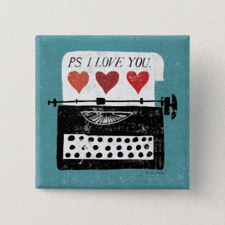 Vintage Desktop - Typewriter Pinback Button
