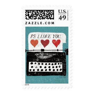 Vintage Desktop - Typewriter Postage Stamp