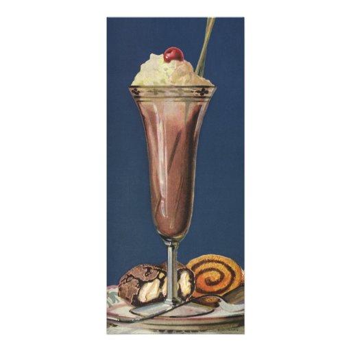 Vintage Dessert, Chocolate Shake Birthday Party Announcements