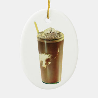 Vintage Dessert; Chocolate Shake Ceramic Ornament
