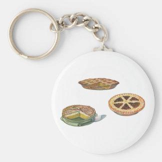 Vintage Desserts Pies Pecan Pumpkin Lemon Meringue Basic Round Button Keychain