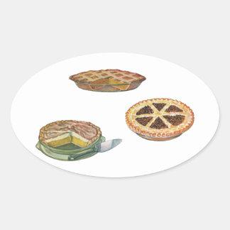 Vintage Desserts Pies Pecan Pumpkin Lemon Meringue Oval Sticker
