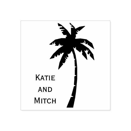 Vintage Destination Palm Tree Wedding Stamp
