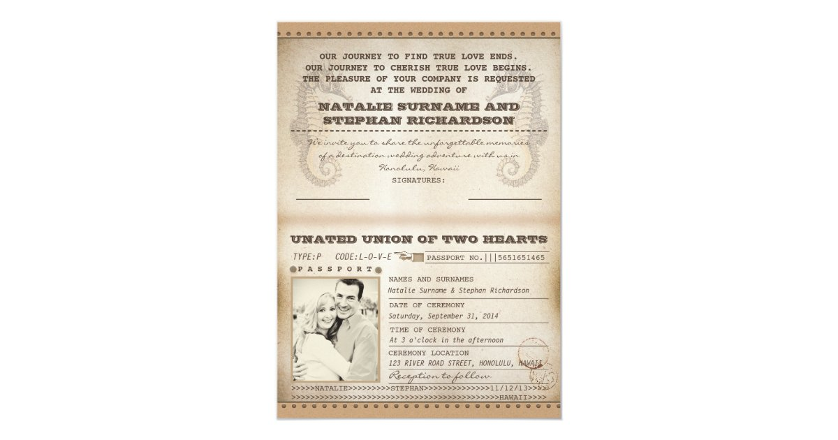 Vintage destination wedding passports invites zazzle for Electronic destination wedding invitations