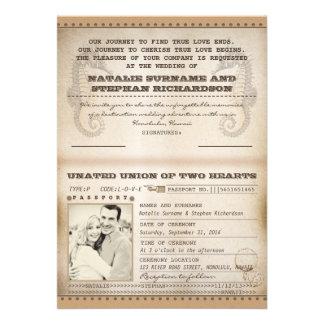 vintage destination wedding passports invites