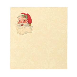 Vintage determinado Santa sonriente del regalo del Blocs De Papel