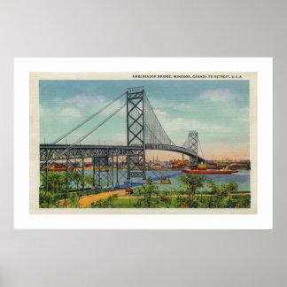 Vintage Detroit Ambassador bridge Windsor Canada Poster