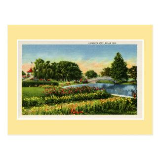 Vintage Detroit Belle Isle bridge Postcard