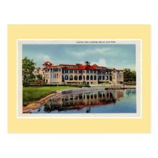 Vintage Detroit Belle Isle casino lagoon Postcard