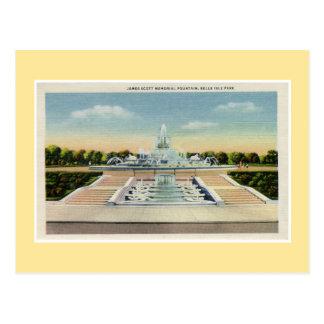 Vintage Detroit Belle Isle Memorial Fountain Postcard