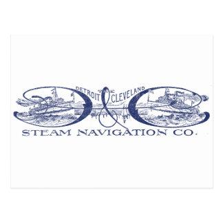 Vintage Detroit & Cleveland Steam Navigation Blue Postcard
