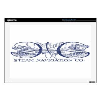 """Vintage Detroit & Cleveland Steam Navigation Blue Skin For 17"""" Laptop"""