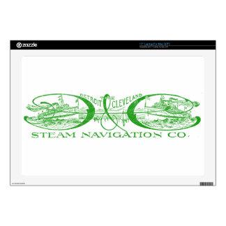 """Vintage Detroit & Cleveland Steam Navigation Green Decal For 17"""" Laptop"""