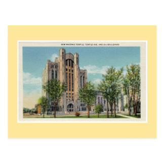 Vintage Detroit New Masonic Temple Postcard