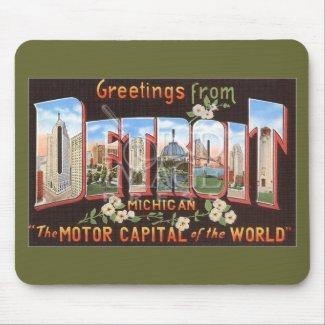Vintage Detroit Postcard Mousepad mousepad