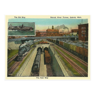 Vintage Detroit River Tunnel Postcard