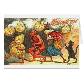 Vintage Devil And Witch Halloween Parade Card