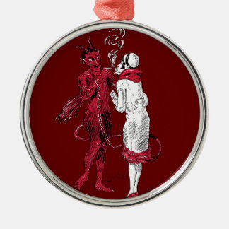 Vintage Devil and Woman Smoking Christmas Ornament