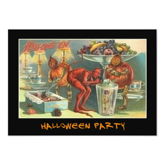 Vintage Devil at Halloween Party With Bloody Text Card