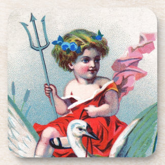 Vintage Devil Child & Swan Beverage Coaster
