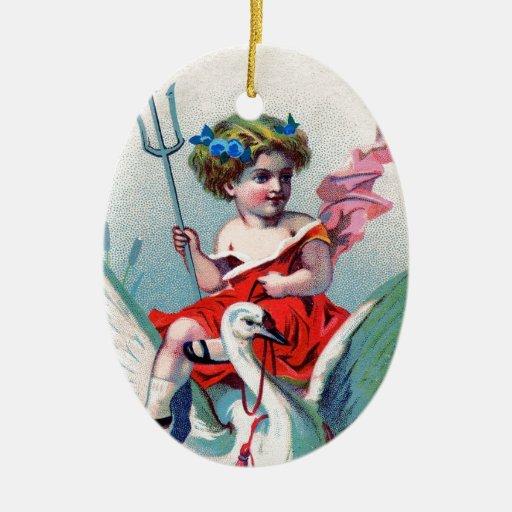 Vintage Devil Child & Swan Ceramic Ornament