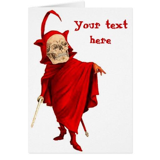 Vintage Devil Skeleton Skull Halloween Faust Death Card