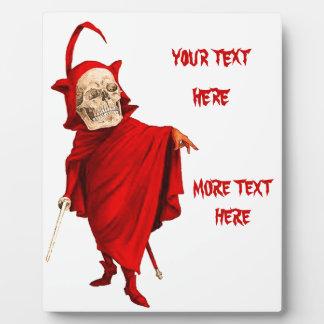 Vintage Devil Skeleton Skull Halloween Faust Death Plaque