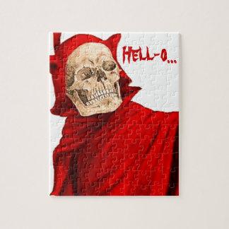 Vintage Devil Skeleton Skull Halloween Faust Death Puzzle