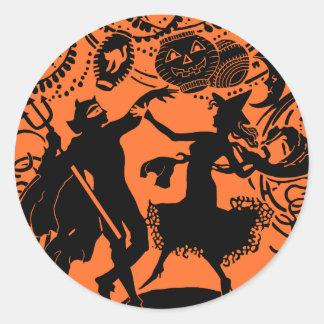 Vintage Devil Witch Dance Silhouette Illustration Classic Round Sticker