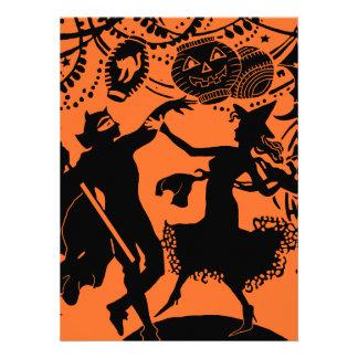 Vintage Devil Witch Dance Silhouette Illustration Personalized Announcement