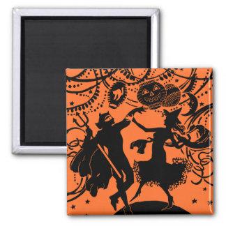 Vintage Devil Witch Dance Silhouette Illustration Fridge Magnets
