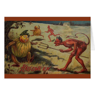 Vintage Devilish Halloween Greeting Card