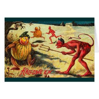Vintage Devils chasing Goblins, Halloween Cheer! Card