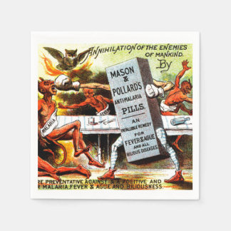 Vintage Devils Weird Fight Pills Halloween Party Paper Napkin