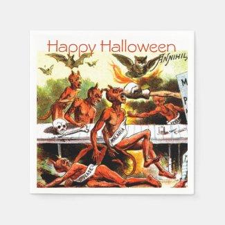 Vintage Devils Weird Halloween Party Standard Cocktail Napkin