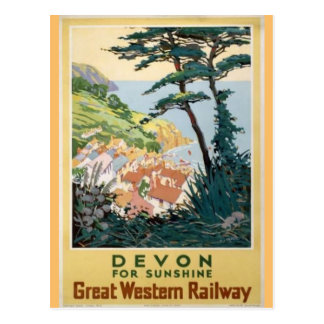Vintage Devon English Travel Advertisement Postcard