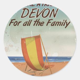 Vintage Devon Holiday poster Classic Round Sticker