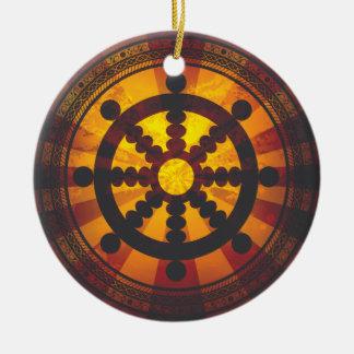 Vintage Dharma Wheel Ceramic Ornament