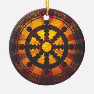 Vintage Dharma Wheel Double-Sided Ceramic Round Christmas Ornament