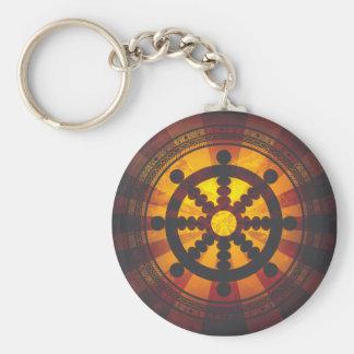 Vintage Dharma Wheel Print Keychain