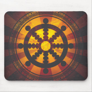 Vintage Dharma Wheel Print Mouse Pad