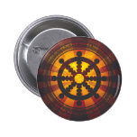 Vintage Dharma Wheel Print Pin