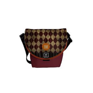 Vintage Diamond Argyle Burgundy and Orange Pattern Messenger Bag