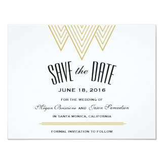 "Vintage Diamond Black & Gold Save The Date 4.25"" X 5.5"" Invitation Card"
