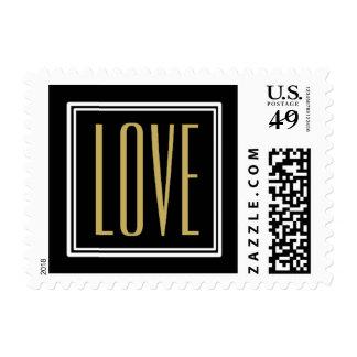 Vintage Diamond Black & Gold Wedding Invitation Stamps