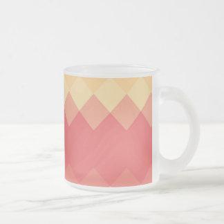 Vintage Diamond Chevron Pattern Frosted Glass Coffee Mug