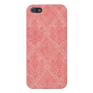 Vintage Diamond Damask Salmon Cover For iPhone SE/5/5s